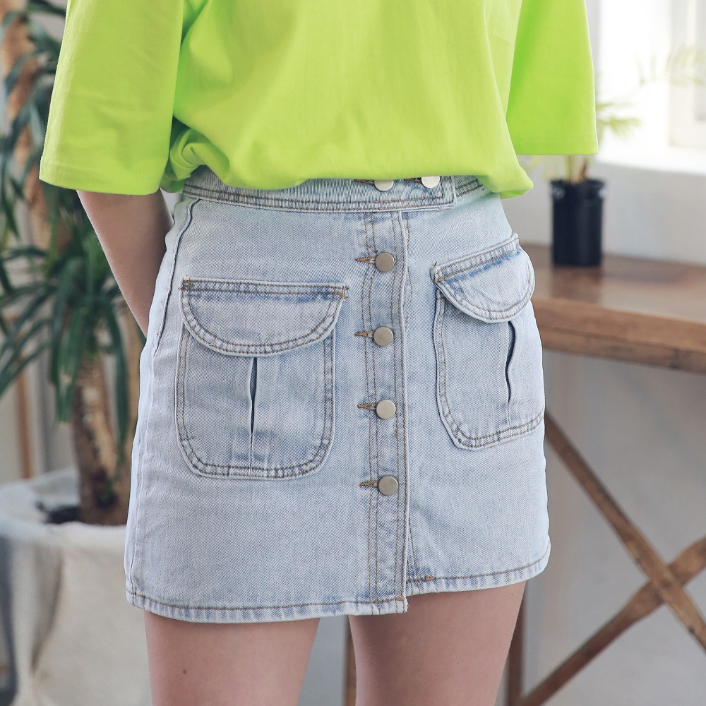 TWO POCKET BUTTON DOWN DENIM SKIRT ASK192003-LB