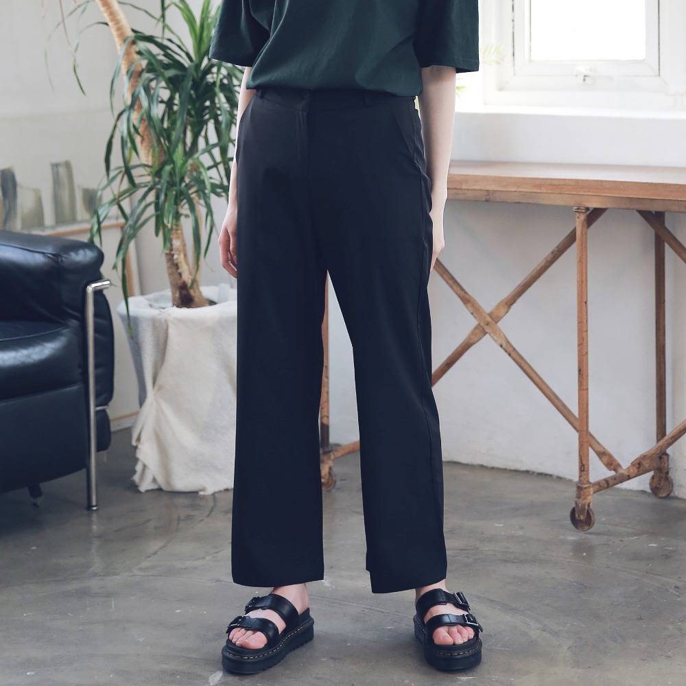 LONG WIDE SLACKS ASL192001-BK