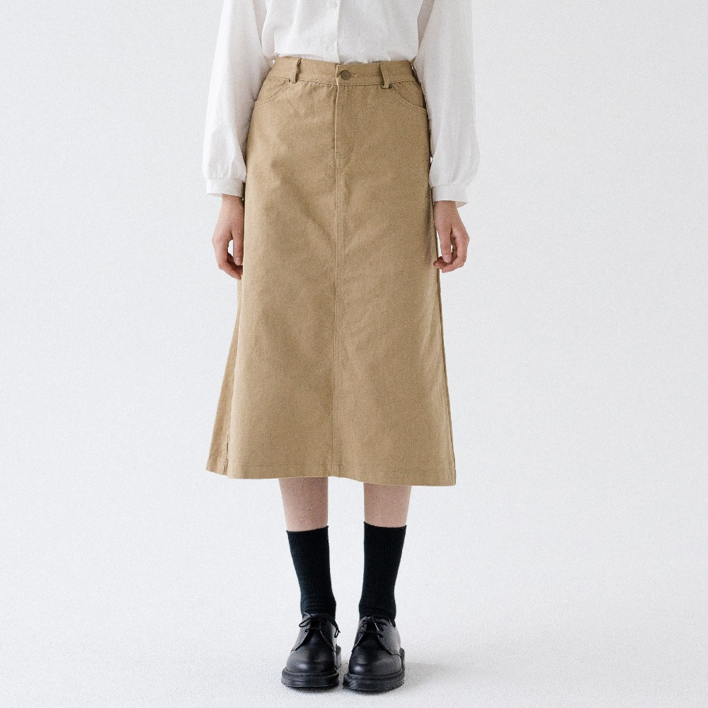 BANDING TWILL COTTON LONG SKIRT ASK193001-BG