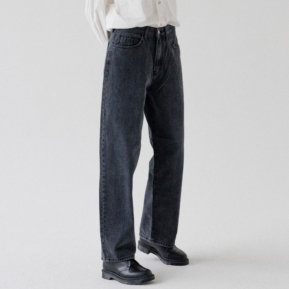 WASHING WIDE DENIM PANTS ALP193005-BK