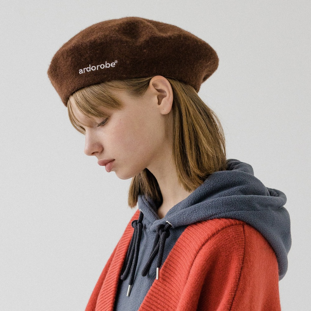 LOGO EMBROIDERY WOOL BERET AAC193002-BN