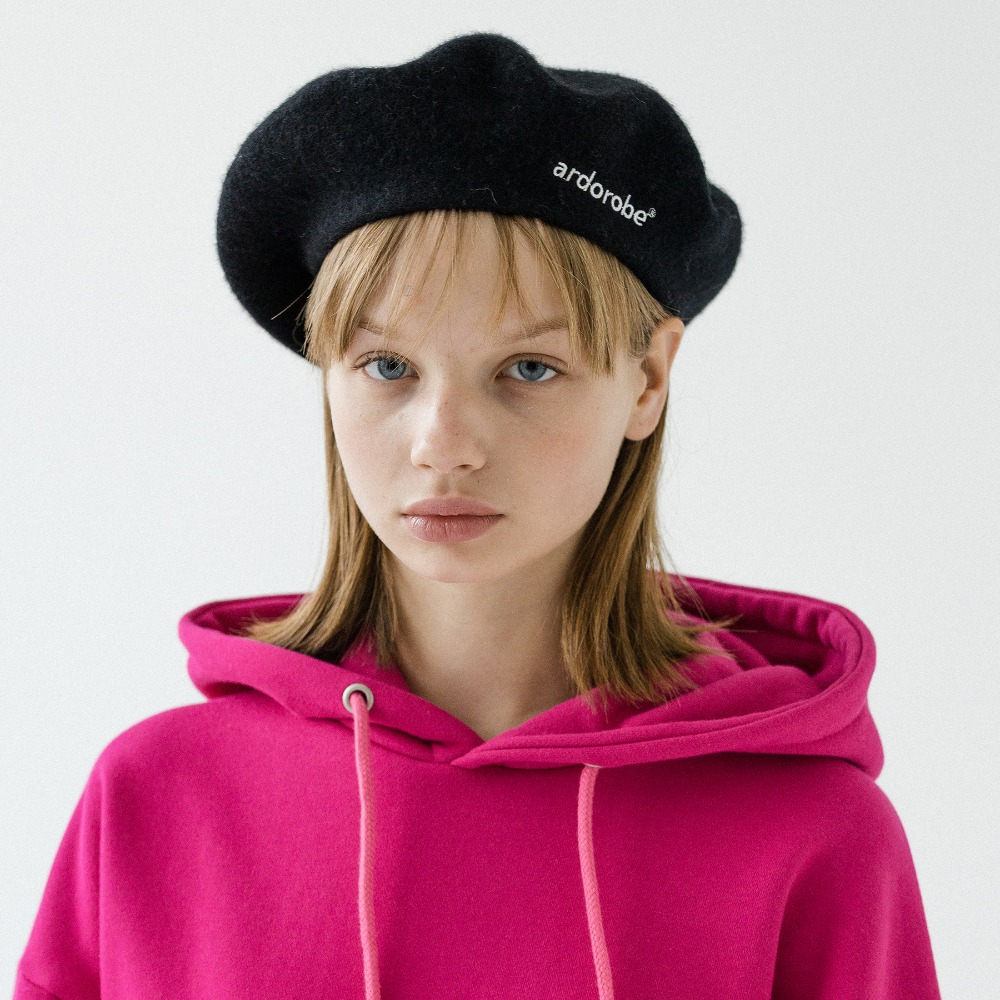 LOGO EMBROIDERY WOOL BERET AAC193002-BK